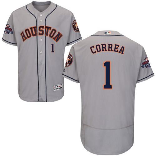 Men's Majestic Houston Astros #1 Carlos Correa Authentic Grey Road 2017 World Series Champions Flex Base MLB Jersey