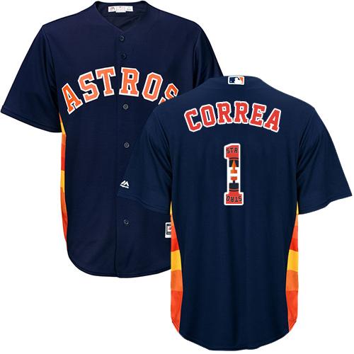 Men's Majestic Houston Astros #1 Carlos Correa Authentic Navy Blue Team Logo Fashion Cool Base MLB Jersey
