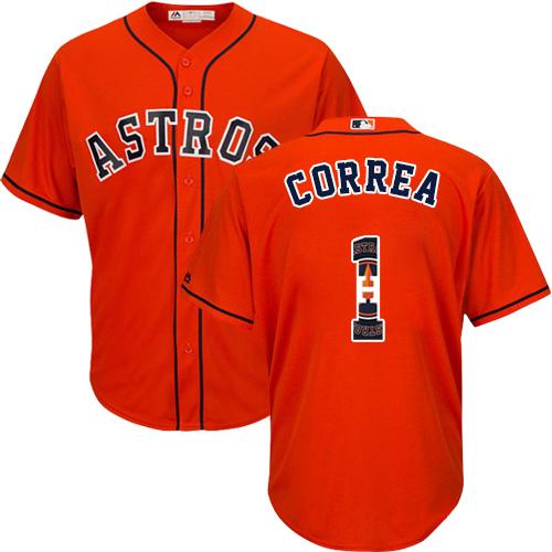 Men's Majestic Houston Astros #1 Carlos Correa Authentic Orange Team Logo Fashion Cool Base MLB Jersey