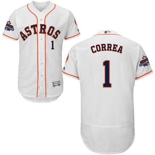 Men's Majestic Houston Astros #1 Carlos Correa Authentic White Home 2017 World Series Champions Flex Base MLB Jersey