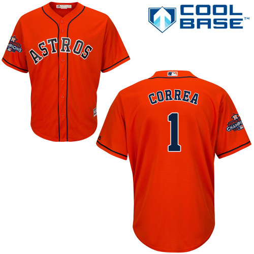 Men's Majestic Houston Astros #1 Carlos Correa Replica Orange Alternate 2017 World Series Champions Cool Base MLB Jersey