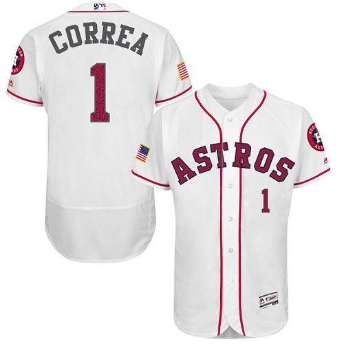 Men's Majestic Houston Astros #1 Carlos Correa Replica White Fashion Stars & Stripes Flex Base MLB Jersey