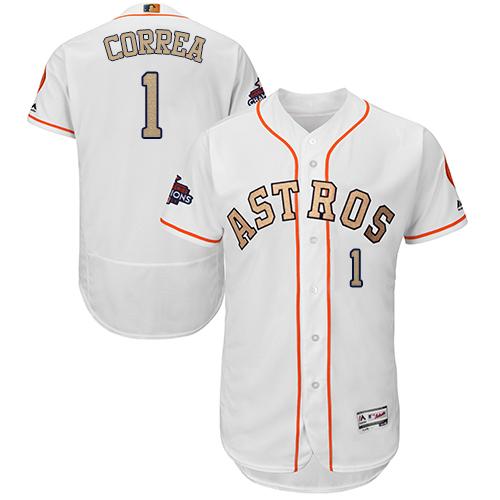 Men's Majestic Houston Astros #1 Carlos Correa White 2018 Gold Program Flex Base Authentic Collection MLB Jersey