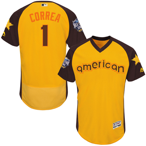 Men's Majestic Houston Astros #1 Carlos Correa Yellow 2016 All-Star American League BP Authentic Collection Flex Base MLB Jersey