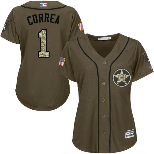 Women's Majestic Houston Astros #1 Carlos Correa Authentic Green Salute to Service MLB Jersey