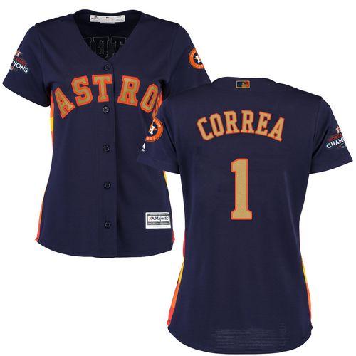 Women's Majestic Houston Astros #1 Carlos Correa Authentic Navy Blue Alternate 2018 Gold Program Cool Base MLB Jersey