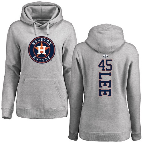 MLB Women's Nike Houston Astros #45 Carlos Lee Ash Backer Pullover Hoodie