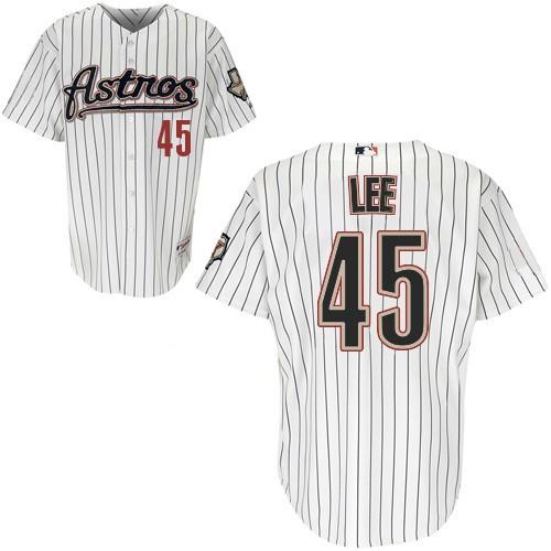 Men's Majestic Houston Astros #45 Carlos Lee Replica White Strip MLB Jersey