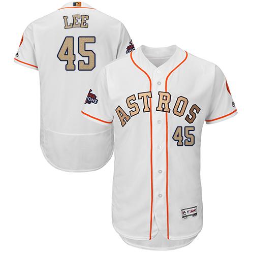 Men's Majestic Houston Astros #45 Carlos Lee White 2018 Gold Program Flex Base Authentic Collection MLB Jersey