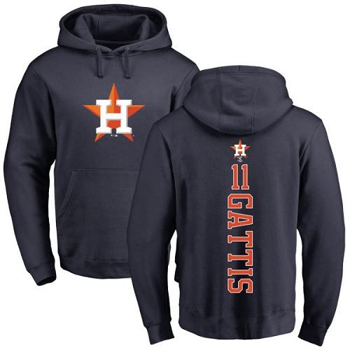 MLB Nike Houston Astros #11 Evan Gattis Navy Blue Backer Pullover Hoodie