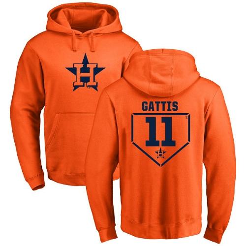 MLB Nike Houston Astros #11 Evan Gattis Orange RBI Pullover Hoodie