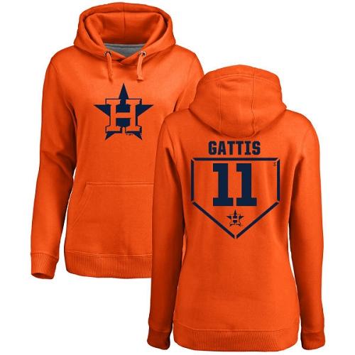 MLB Women's Nike Houston Astros #11 Evan Gattis Orange RBI Pullover Hoodie