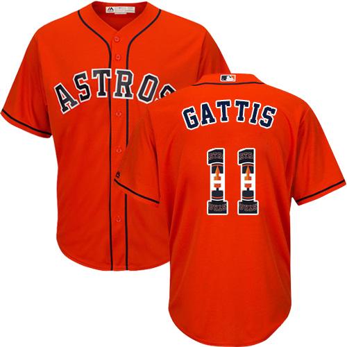 Men's Majestic Houston Astros #11 Evan Gattis Authentic Orange Team Logo Fashion Cool Base MLB Jersey