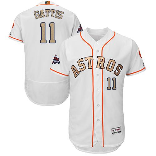 Men's Majestic Houston Astros #11 Evan Gattis White 2018 Gold Program Flex Base Authentic Collection MLB Jersey
