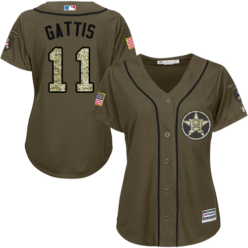 Women's Majestic Houston Astros #11 Evan Gattis Authentic Green Salute to Service MLB Jersey