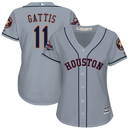 Women's Majestic Houston Astros #11 Evan Gattis Authentic Grey Road 2017 World Series Champions Cool Base MLB Jersey