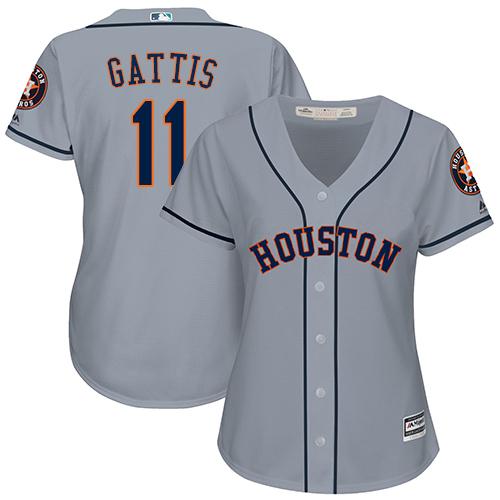 Women's Majestic Houston Astros #11 Evan Gattis Authentic Grey Road Cool Base MLB Jersey