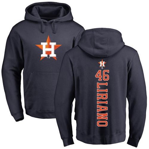 MLB Nike Houston Astros #46 Francisco Liriano Navy Blue Backer Pullover Hoodie