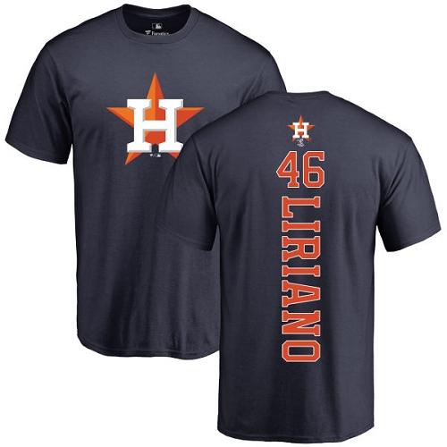 MLB Nike Houston Astros #46 Francisco Liriano Navy Blue Backer T-Shirt