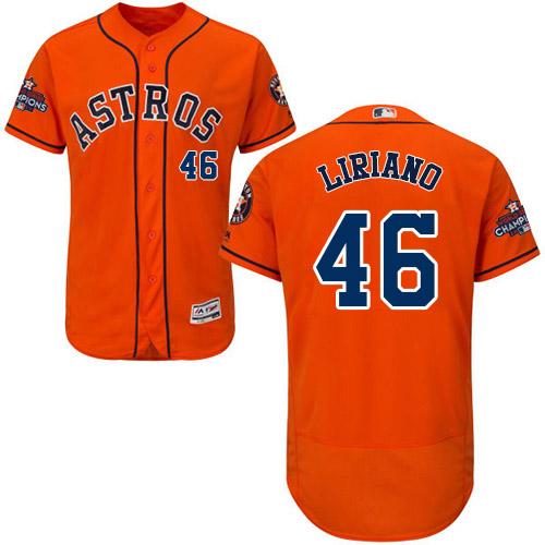 Men's Majestic Houston Astros #46 Francisco Liriano Authentic Orange Alternate 2017 World Series Champions Flex Base MLB Jersey