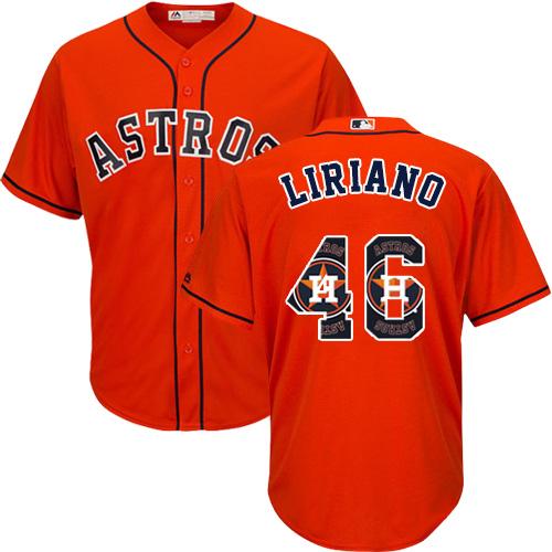 Men's Majestic Houston Astros #46 Francisco Liriano Authentic Orange Team Logo Fashion Cool Base MLB Jersey
