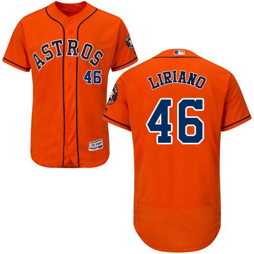 Men's Majestic Houston Astros #46 Francisco Liriano Orange Flexbase Authentic Collection MLB Jersey