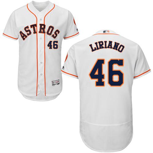 Men's Majestic Houston Astros #46 Francisco Liriano White Flexbase Authentic Collection MLB Jersey