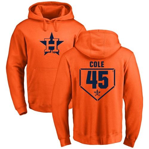 MLB Nike Houston Astros #45 Gerrit Cole Orange RBI Pullover Hoodie