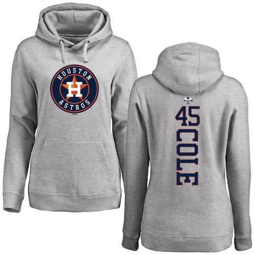 MLB Women's Nike Houston Astros #45 Gerrit Cole Ash Backer Pullover Hoodie