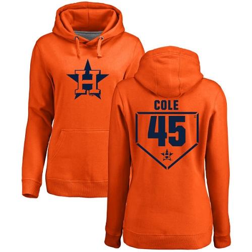 MLB Women's Nike Houston Astros #45 Gerrit Cole Orange RBI Pullover Hoodie