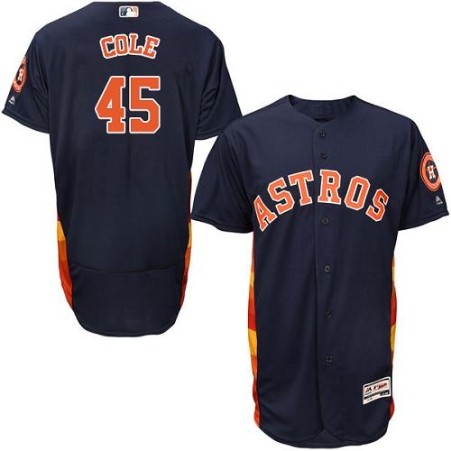 Men's Majestic Houston Astros #45 Gerrit Cole Navy Blue Alternate Flex Base Authentic Collection MLB Jersey