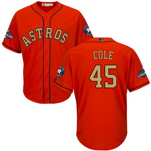 Men's Majestic Houston Astros #45 Gerrit Cole Replica Orange Alternate 2018 Gold Program Cool Base MLB Jersey