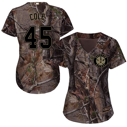 Women's Majestic Houston Astros #45 Gerrit Cole Authentic Camo Realtree Collection Flex Base MLB Jersey
