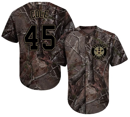 Youth Majestic Houston Astros #45 Gerrit Cole Authentic Camo Realtree Collection Flex Base MLB Jersey