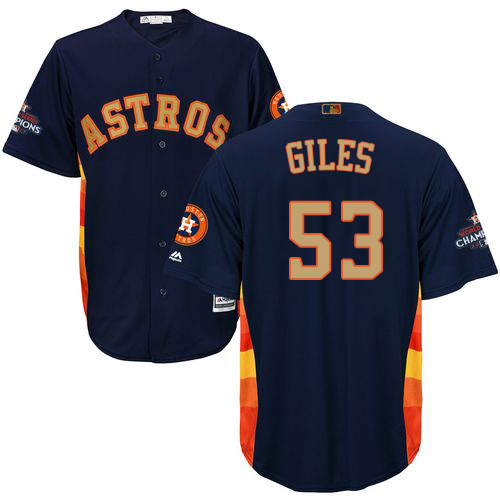 Men's Majestic Houston Astros #53 Ken Giles Replica Navy Blue Alternate 2018 Gold Program Cool Base MLB Jersey