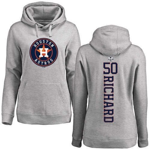 MLB Women's Nike Houston Astros #50 J.R. Richard Ash Backer Pullover Hoodie