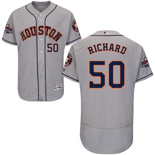 Men's Majestic Houston Astros #50 J.R. Richard Authentic Grey Road 2017 World Series Champions Flex Base MLB Jersey