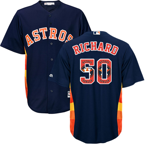Men's Majestic Houston Astros #50 J.R. Richard Authentic Navy Blue Team Logo Fashion Cool Base MLB Jersey