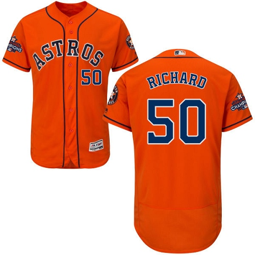 Men's Majestic Houston Astros #50 J.R. Richard Authentic Orange Alternate 2017 World Series Champions Flex Base MLB Jersey