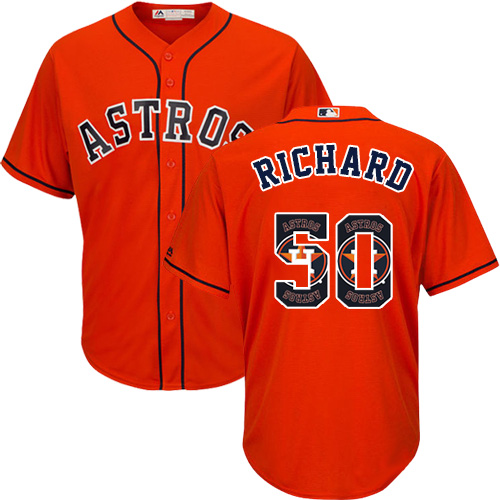 Men's Majestic Houston Astros #50 J.R. Richard Authentic Orange Team Logo Fashion Cool Base MLB Jersey