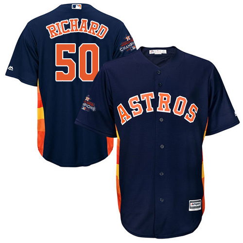 Men's Majestic Houston Astros #50 J.R. Richard Replica Navy Blue Alternate 2017 World Series Champions Cool Base MLB Jersey