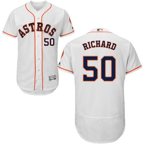 Men's Majestic Houston Astros #50 J.R. Richard White Home Flex Base Authentic Collection MLB Jersey