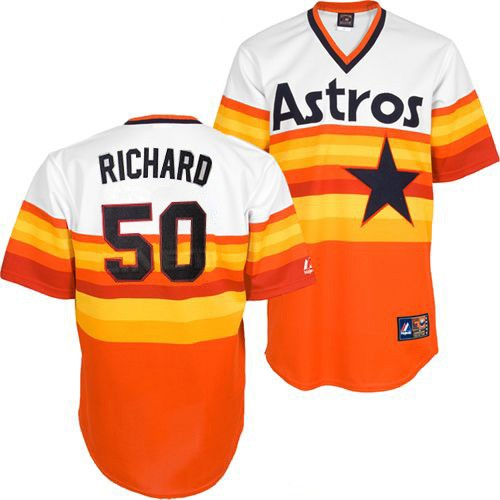 Men's Mitchell and Ness Houston Astros #50 J.R. Richard Replica White/Orange Throwback MLB Jersey