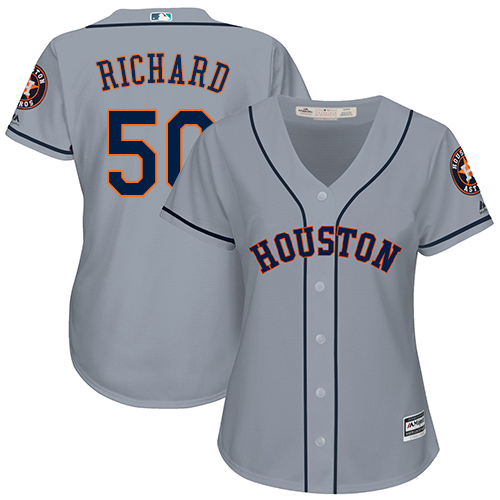 Women's Majestic Houston Astros #50 J.R. Richard Authentic Grey Road Cool Base MLB Jersey