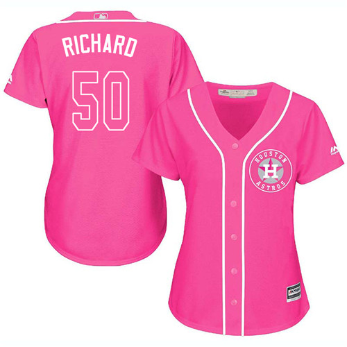 Women's Majestic Houston Astros #50 J.R. Richard Authentic Pink Fashion Cool Base MLB Jersey
