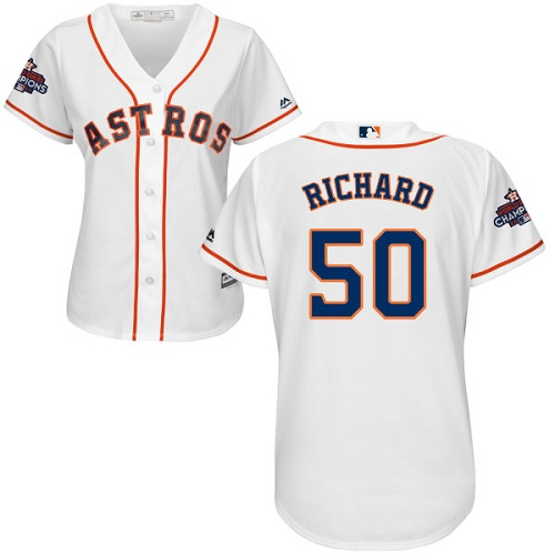 Women's Majestic Houston Astros #50 J.R. Richard Authentic White Home 2017 World Series Champions Cool Base MLB Jersey