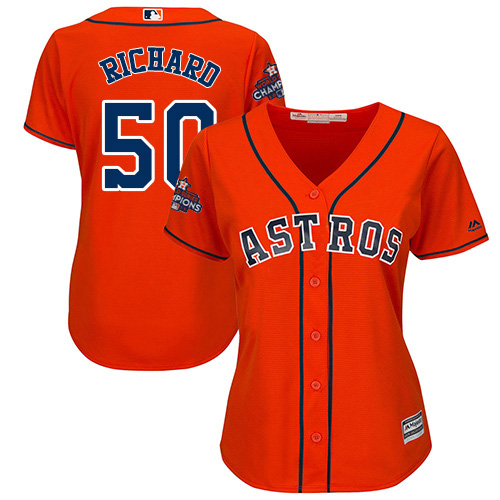 Women's Majestic Houston Astros #50 J.R. Richard Replica Orange Alternate 2017 World Series Champions Cool Base MLB Jersey