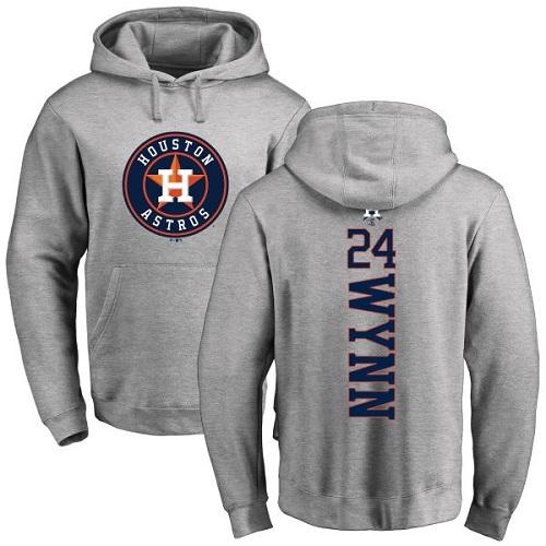MLB Nike Houston Astros #24 Jimmy Wynn Ash Backer Pullover Hoodie