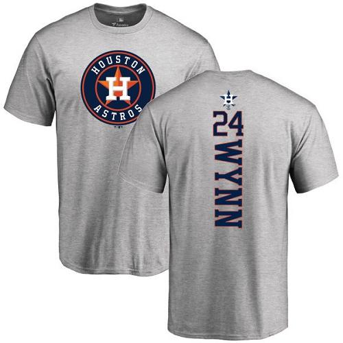 MLB Nike Houston Astros #24 Jimmy Wynn Ash Backer T-Shirt