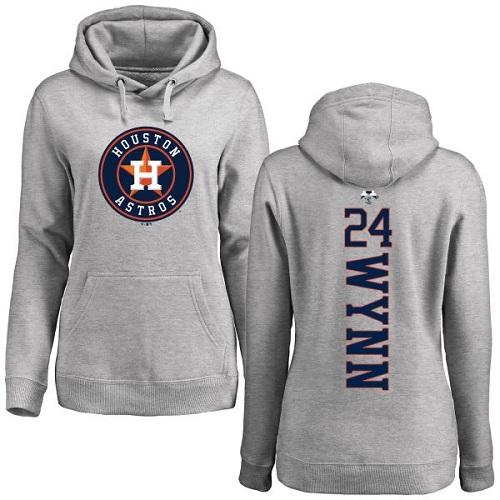 MLB Women's Nike Houston Astros #24 Jimmy Wynn Ash Backer Pullover Hoodie
